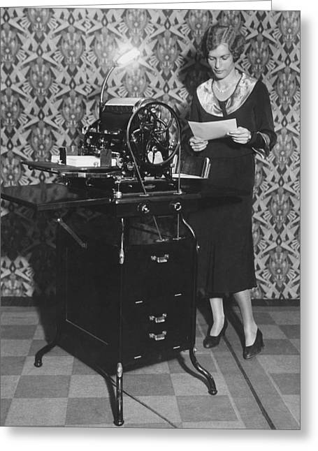 Woman Demonstrates Duplicator Greeting Card by Underwood Archives