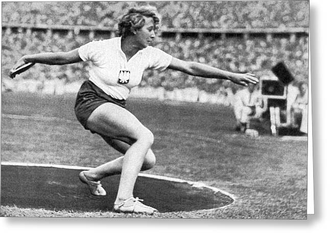Woman Discus At 1936 Olympic Greeting Card