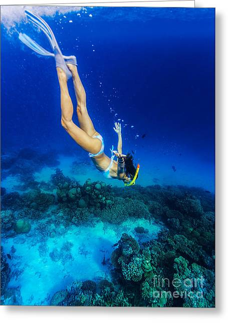 Woman Diving To The Sea Bottom Greeting Card by Anna Om
