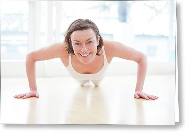 Woman Doing Press Ups Greeting Card