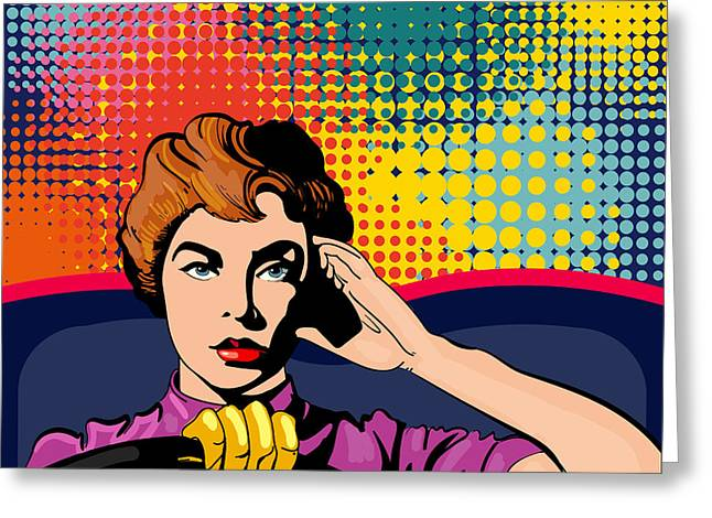 Woman Driving A Car Pop Art Vector Greeting Card