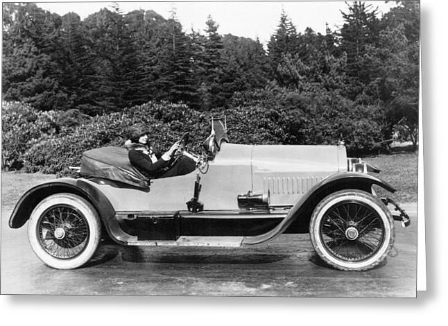 Woman Driving A Stutz Roadster Greeting Card