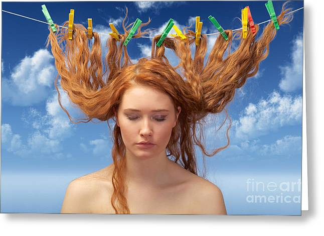 Woman Drying Red Hairs Greeting Card by Aleksey Tugolukov