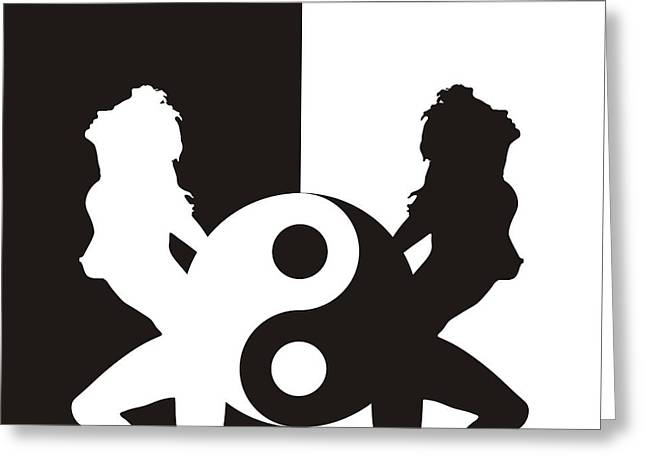 Woman Erotic Silhouette In Ying Yang Greeting Card