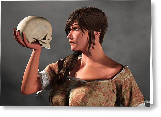 Woman Examining A Skull. Greeting Card by Daniel Eskridge