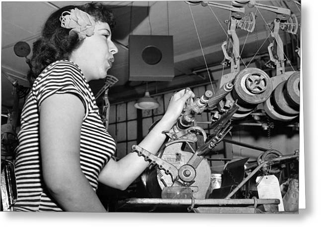 Woman Factory Worker Greeting Card by Underwood Archives
