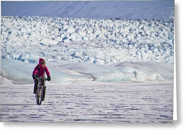 Woman Fat Tire Mountain Biking On The Greeting Card by Joe Stock