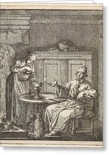 Woman Fills A Burning Oil Lamp, Jan Luyken Greeting Card by Jan Luyken And Wed. Pieter Arentz And Cornelis Van Der Sys Ii