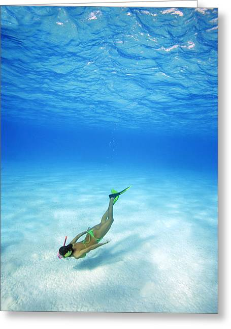 Woman Free Diving Greeting Card by M Swiet Productions