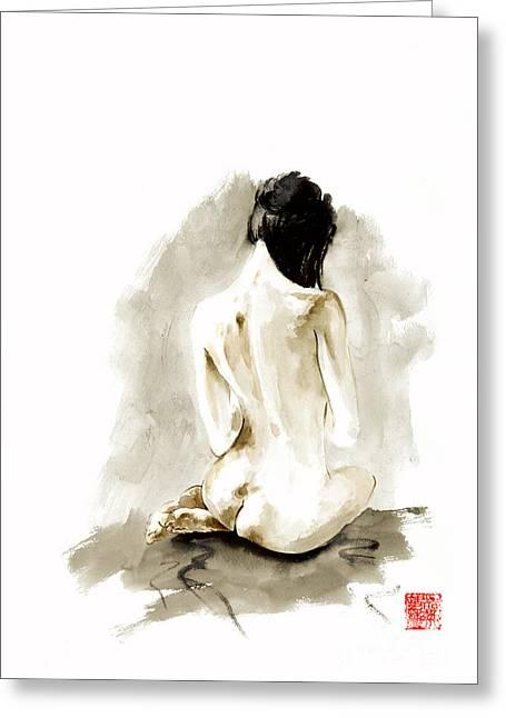 Woman Geisha Erotic Act Japanese Ink Painting Greeting Card by Mariusz Szmerdt