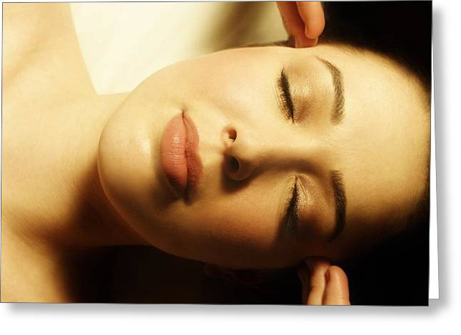Woman Having Face Massaged Greeting Card by Don Hammond