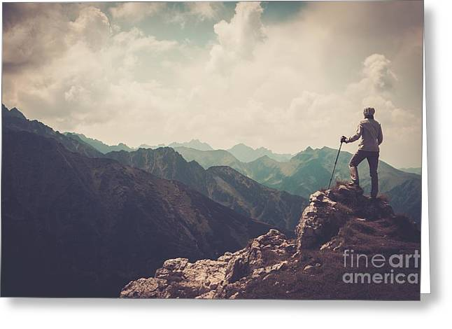 Woman Hiker On A Top Of A Mountain Greeting Card