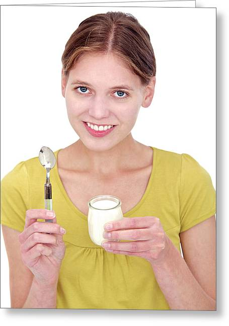 Woman Holding A Yoghurt Greeting Card