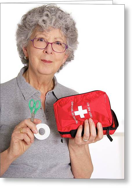 Woman Holding First Aid Kit Greeting Card by Lea Paterson