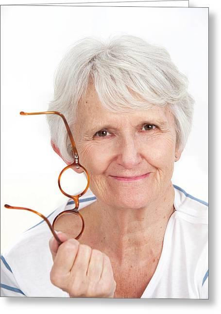 Woman Holding Glasses Greeting Card