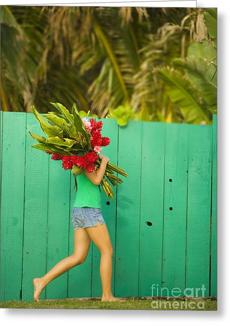 Woman Holding Red And Pink Ginger Flowers Greeting Card