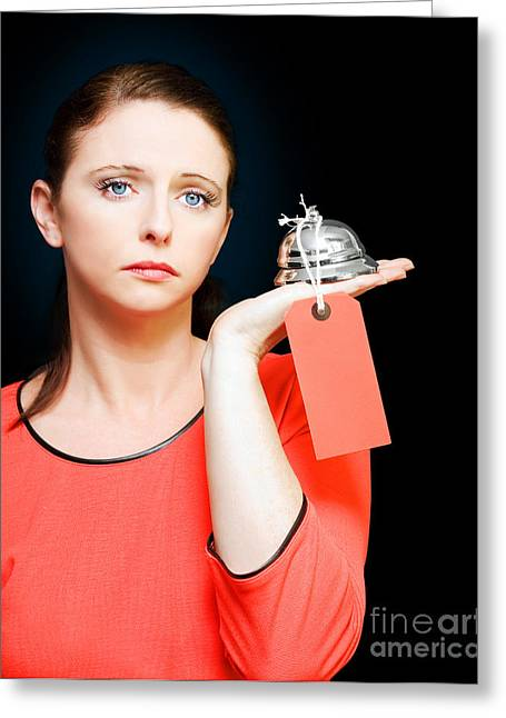Woman Holding Service Bell With Tipping Price Tag Greeting Card