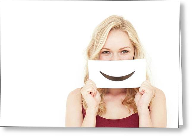 Woman Holding Smiley Mouth Greeting Card