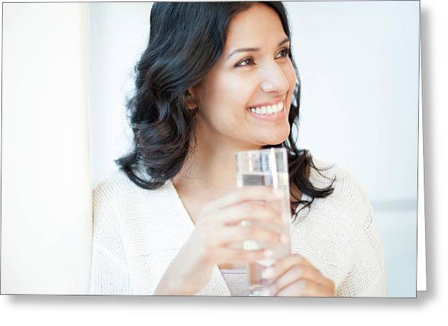 Woman Holding Water Greeting Card