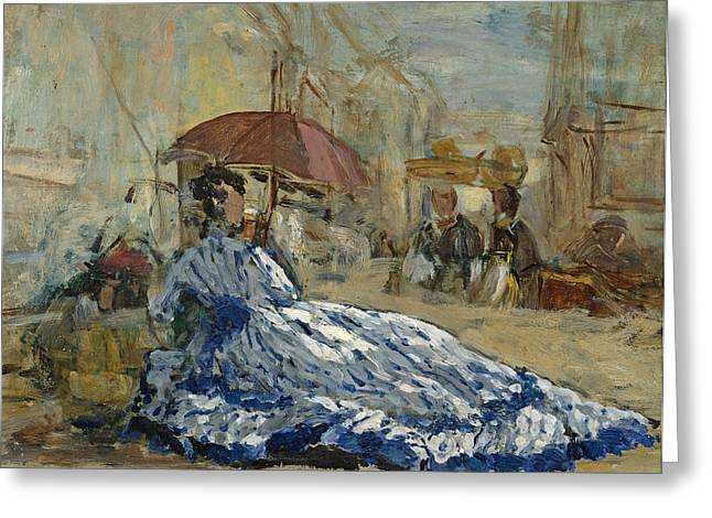 Woman In A Blue Dress Under A Parasol Greeting Card by Eugene Louis Boudin
