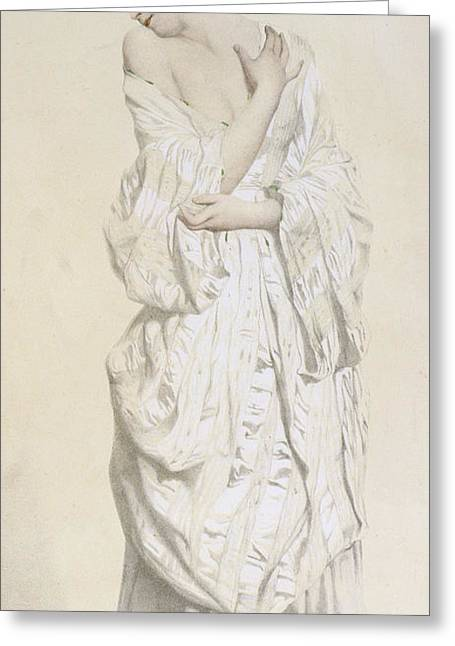 Woman In A Dressing Gown Greeting Card by French School