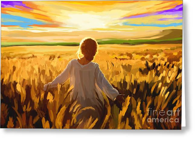 Woman In A Wheat Field Greeting Card