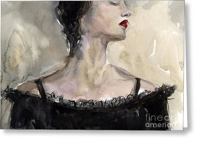 Woman In Black Watercolor Portrait Greeting Card by Svetlana Novikova
