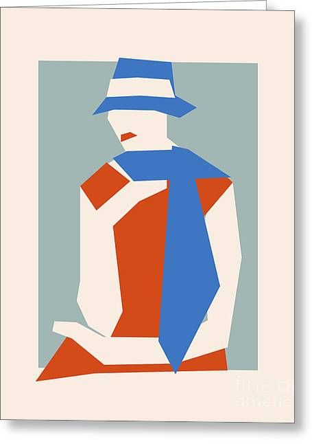 Woman In Blue Hat Greeting Card