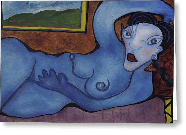 Absorb Paintings Greeting Cards - Woman in Blue Greeting Card by Jaime Rodriguez-raigoza