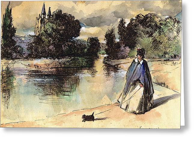 French Woman Walking Dog Influenced By Past Master Greeting Card by Victoria Stavish