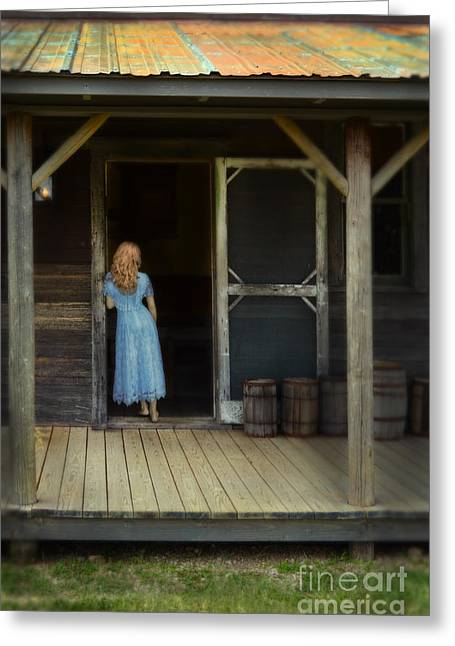 Woman In Cabin Doorway Greeting Card by Jill Battaglia