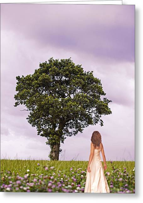 Woman In Country Field Greeting Card