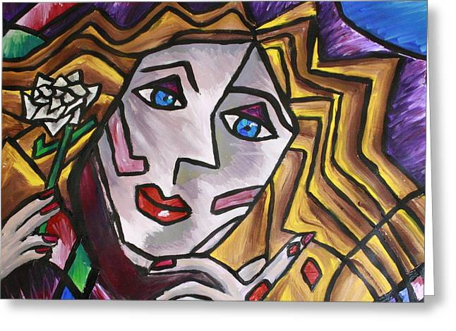 Woman In Cubism Greeting Card by Rebecca Schoof