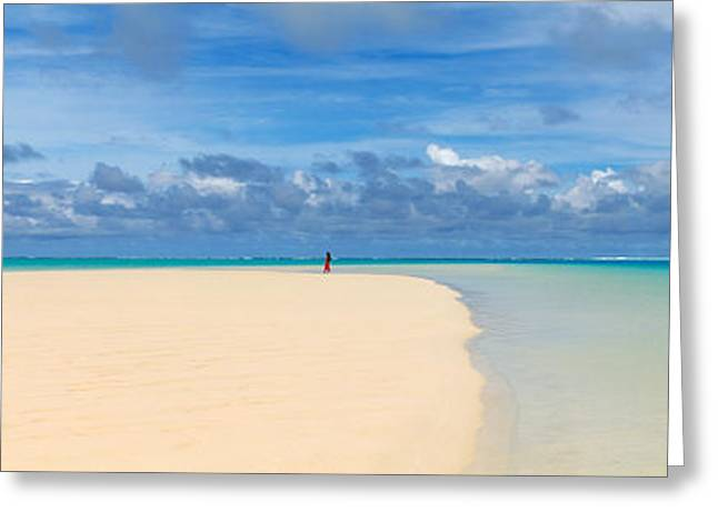 Woman In Distance On Sandbar, Aitutaki Greeting Card by Panoramic Images