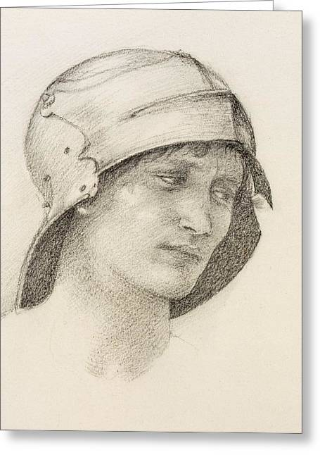 Woman In Hat, Detail From A Sketchbook Greeting Card by Sir Edward Coley Burne-Jones