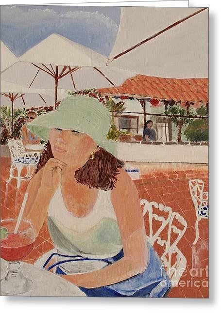 Woman In Mazatlan Greeting Card by Debra Chmelina