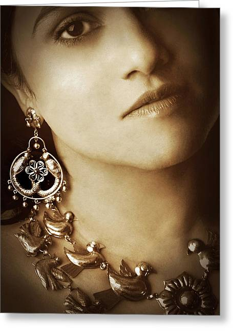 Woman In Mexican Silver Jewelry Greeting Card