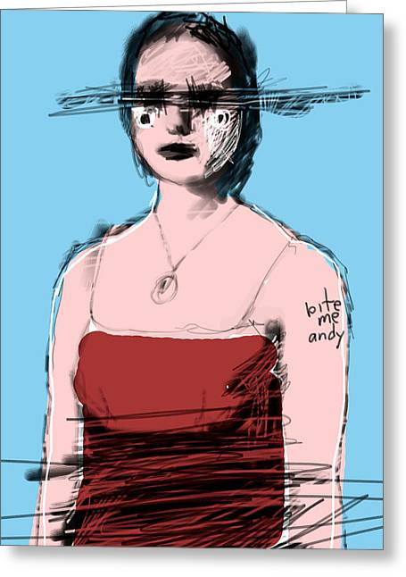 Woman In Red Dress Greeting Card