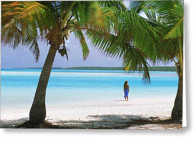 Woman In Sarong On The Beach, One Foot Greeting Card by Panoramic Images