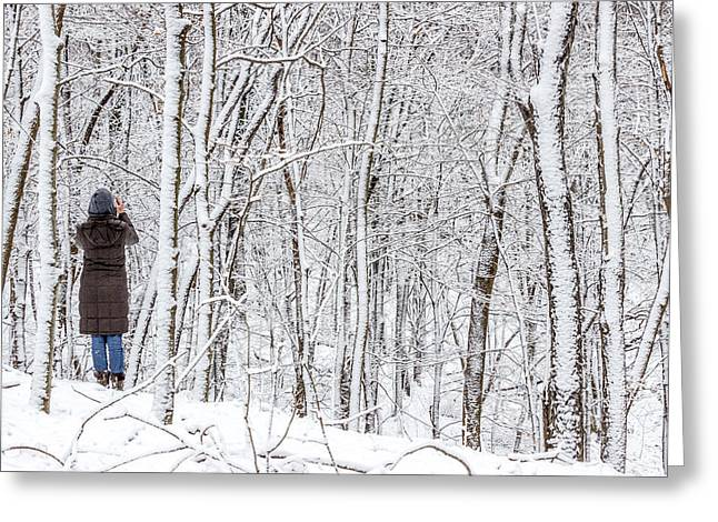 Woman In A Snow Covered Forest Greeting Card