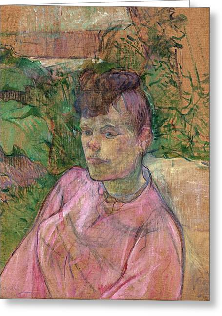 Woman In The Garden Of Monsieur Forest Greeting Card by Toulouse-Lautrec