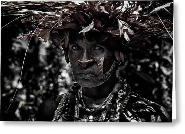Woman In The Sing-sing Festival Of Mt Hagen - Papua New Guinea Greeting Card