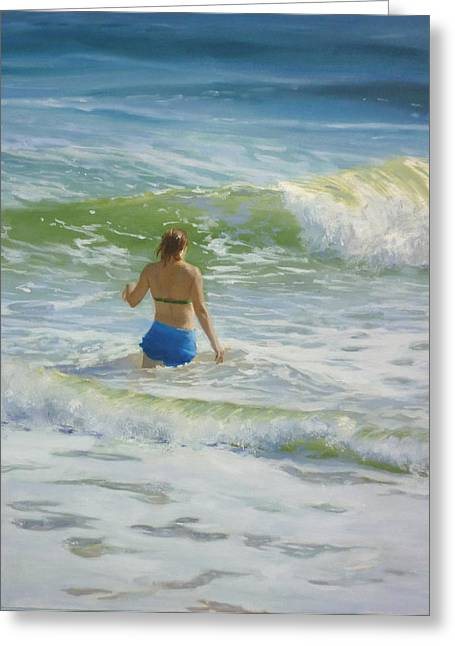 Woman In The Waves Greeting Card