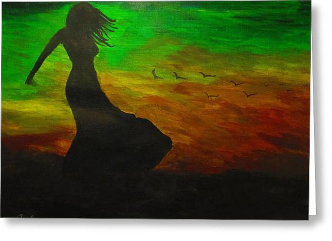 Woman In The Wind Greeting Card by Haleema Nuredeen