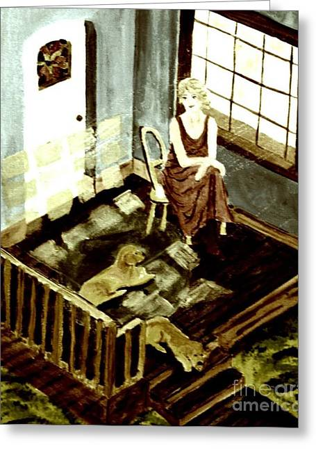 Woman In The Window Greeting Card