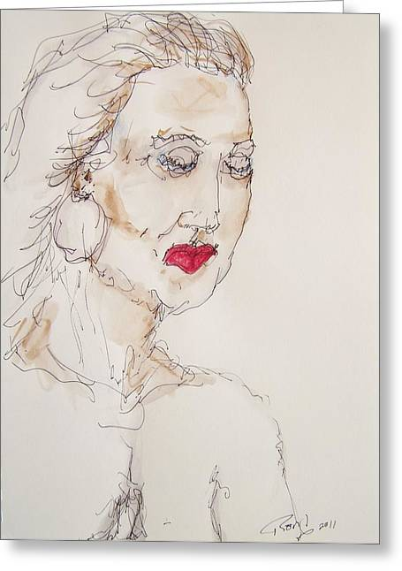 Woman In Thought Greeting Card