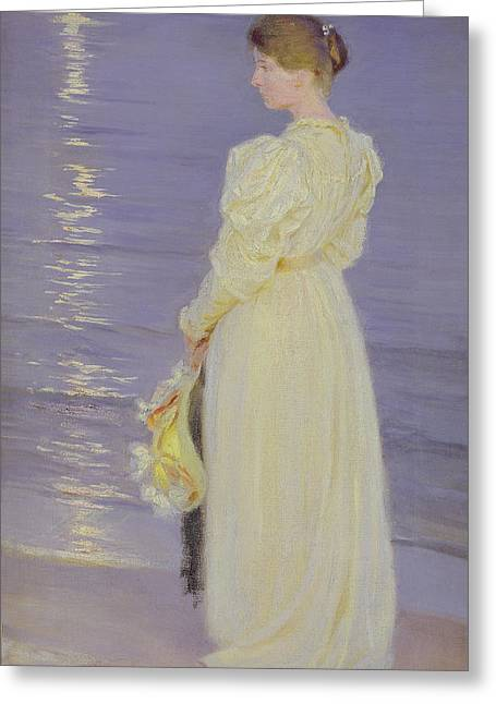 Woman In White On A Beach, 1893 Greeting Card by Peder Severin Kroyer