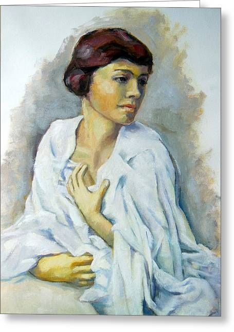 Woman In White Painting Greeting Card