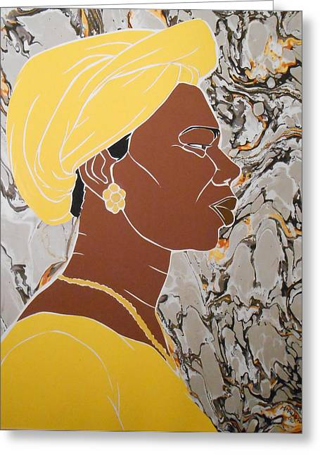 Woman In Yellow Greeting Card