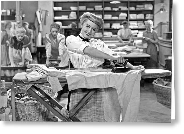 Woman Ironing In Laundry Greeting Card